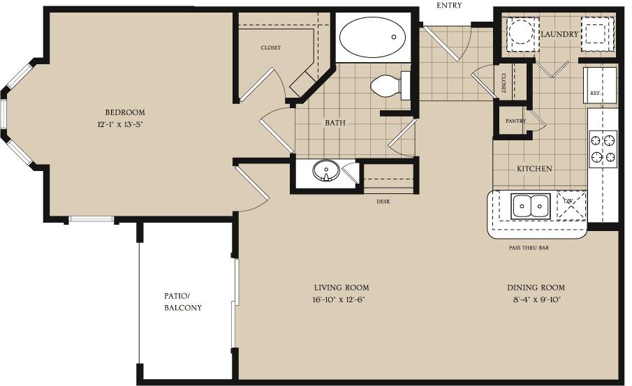 834 sq. ft. A2 floor plan