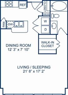 778 sq. ft. Belgium floor plan