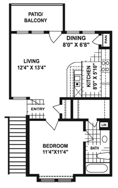 581 sq. ft. I1 floor plan