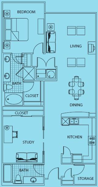 1,140 sq. ft. to 1,201 sq. ft. Capri floor plan