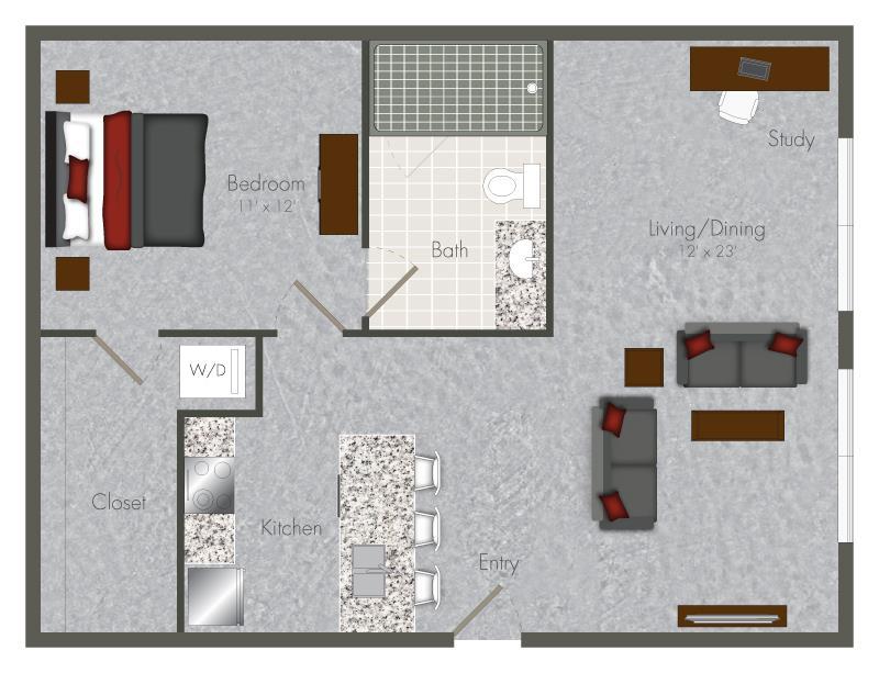 767 sq. ft. 1S-X1 floor plan