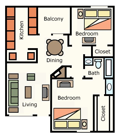 876 sq. ft. 2A10 floor plan