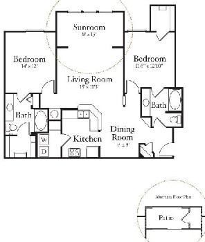 1,238 sq. ft. B2.2 floor plan