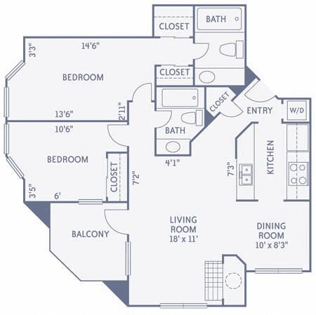 956 sq. ft. B2 floor plan