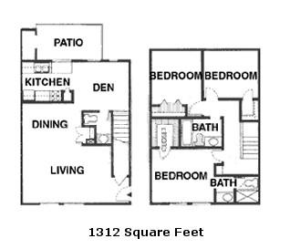 1,312 sq. ft. 50% floor plan