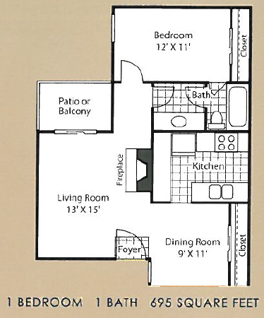 695 sq. ft. A2 floor plan