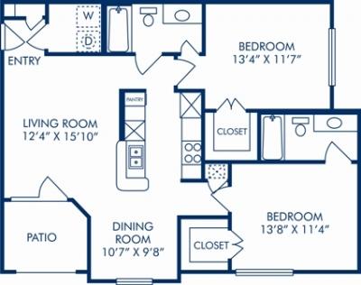 978 sq. ft. L floor plan