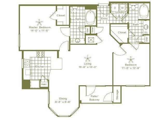 1,177 sq. ft. Larkdale floor plan