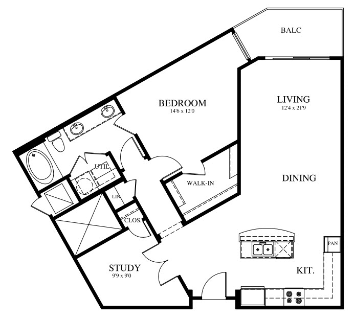 1,006 sq. ft. A4 floor plan