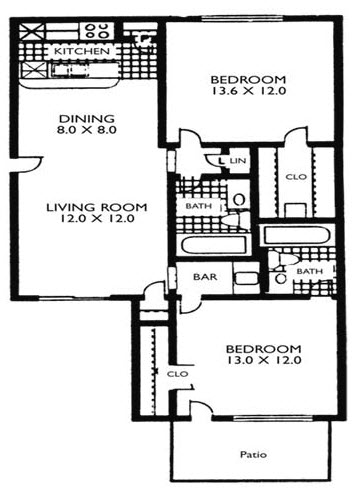 963 sq. ft. VP B2 floor plan