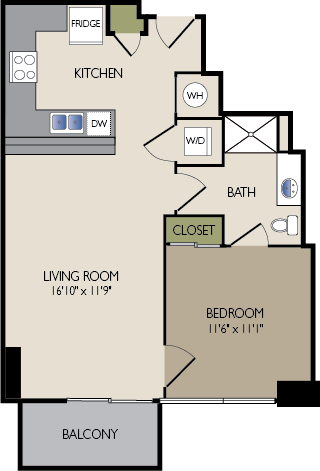681 sq. ft. B floor plan