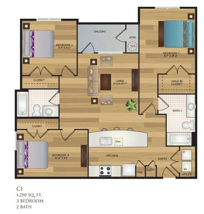 1,250 sq. ft. C1 floor plan