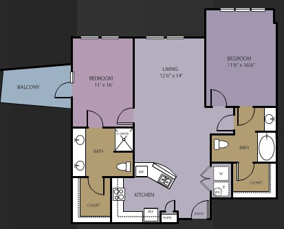 1,221 sq. ft. B7 floor plan