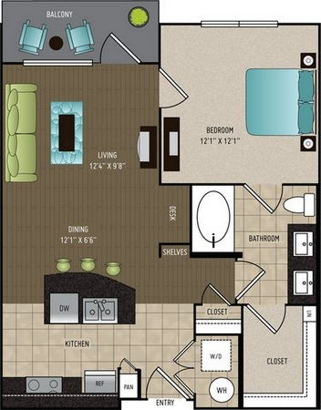 746 sq. ft. floor plan