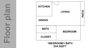 534 sq. ft. A floor plan