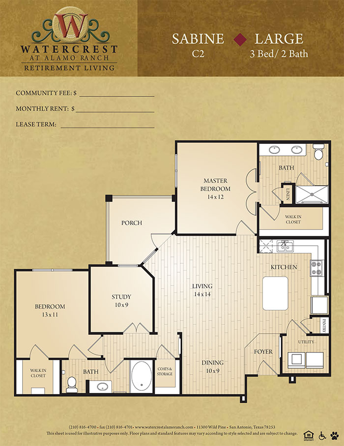 1,300 sq. ft. Sabine floor plan