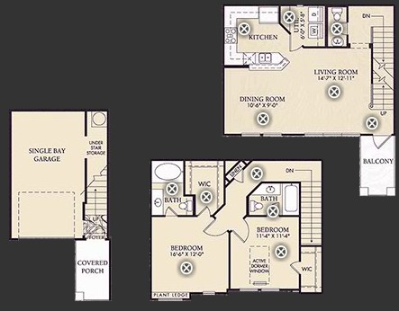 1,264 sq. ft. B3/B3U floor plan