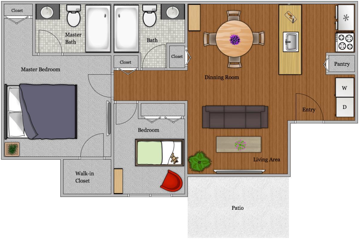 966 sq. ft. B-2 floor plan