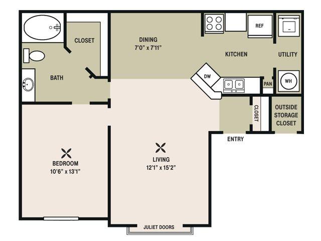 764 sq. ft. Secretariat floor plan