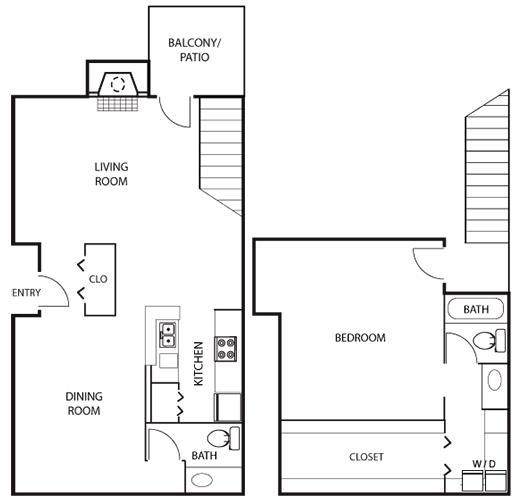 1,138 sq. ft. A5 floor plan