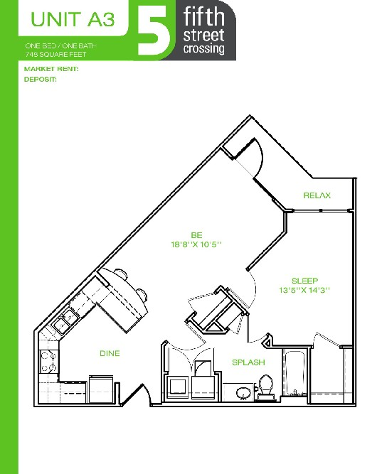748 sq. ft. A3 floor plan