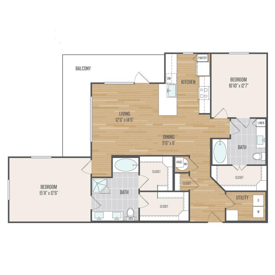 1,376 sq. ft. B9 floor plan