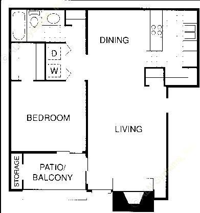 713 sq. ft. BLU floor plan