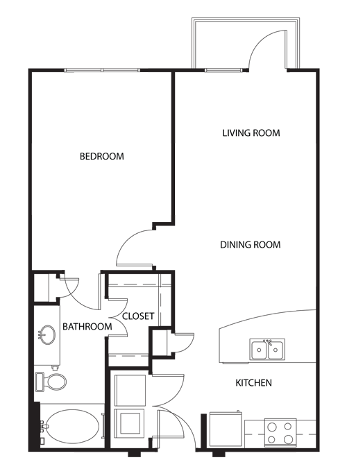 696 sq. ft. A0 floor plan