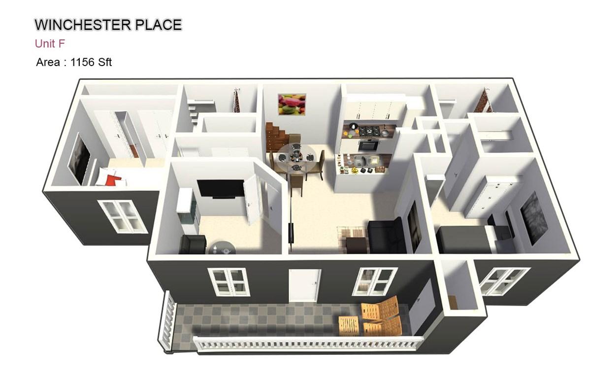 1,156 sq. ft. F floor plan
