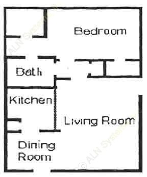 640 sq. ft. A1 floor plan