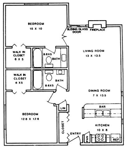 962 sq. ft. ABP floor plan