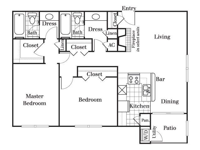 1,110 sq. ft. B6 floor plan