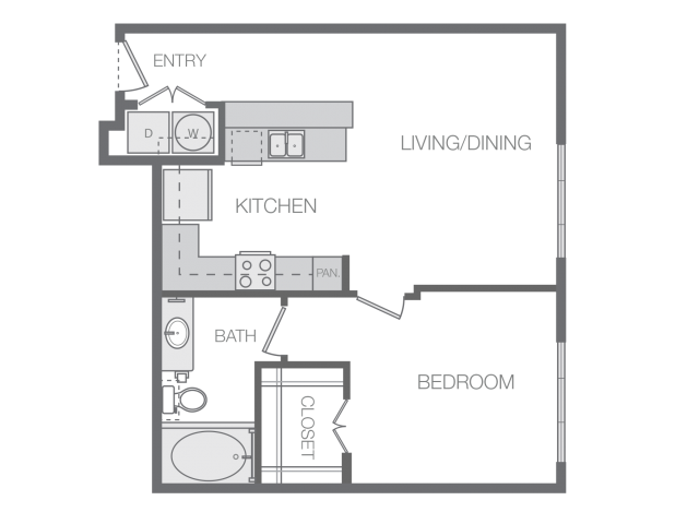636 sq. ft. B floor plan