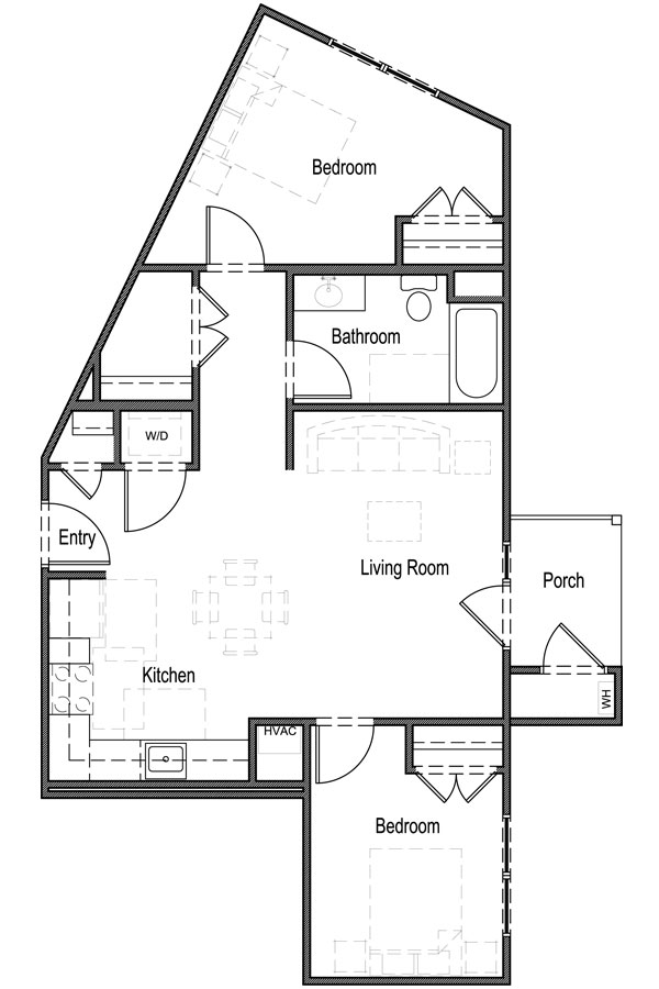 833 sq. ft. 60% floor plan