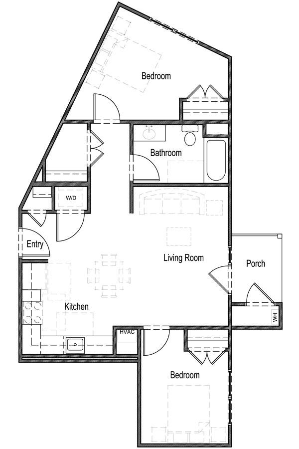 833 sq. ft. B2 60% floor plan