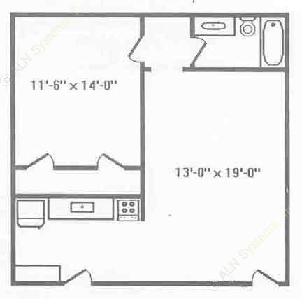 569 sq. ft. A1 floor plan