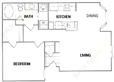 745 sq. ft. B1 floor plan