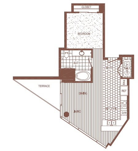 821 sq. ft. PH 1 floor plan