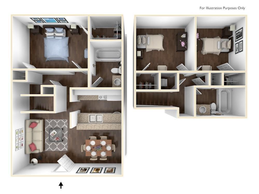 1,200 sq. ft. C2 floor plan