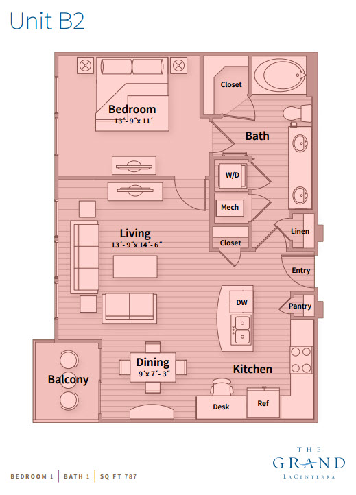 787 sq. ft. B2 floor plan