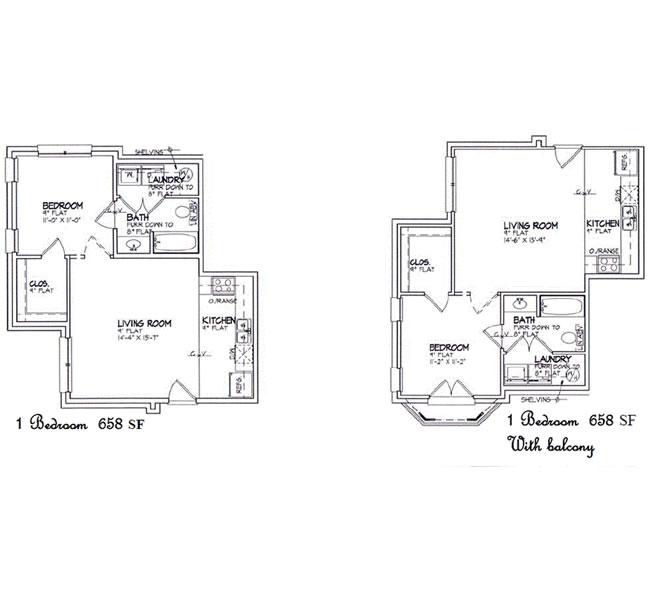 658 sq. ft. to 872 sq. ft. floor plan