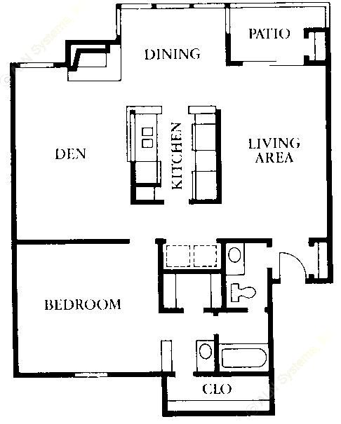 938 sq. ft. A2 floor plan