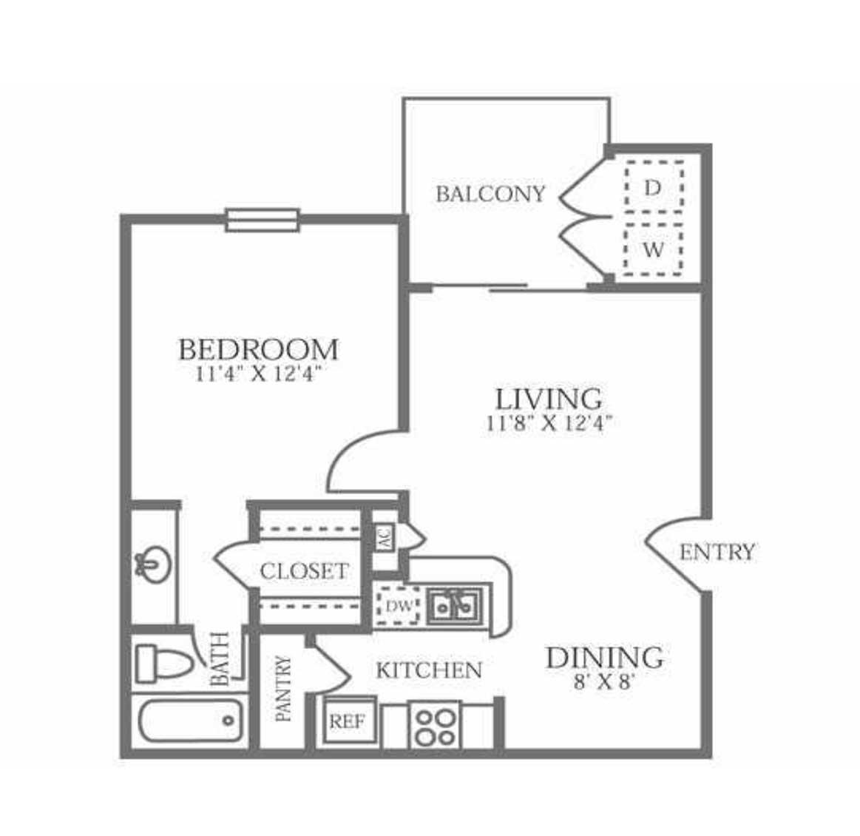 474 sq. ft. A1 floor plan