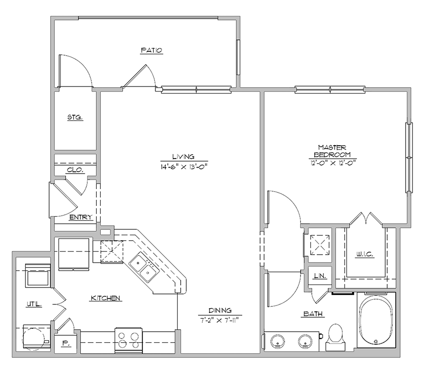 796 sq. ft. A2P floor plan