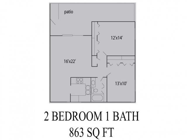 863 sq. ft. floor plan