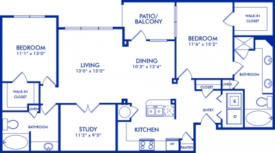 1,417 sq. ft. EUCALID floor plan