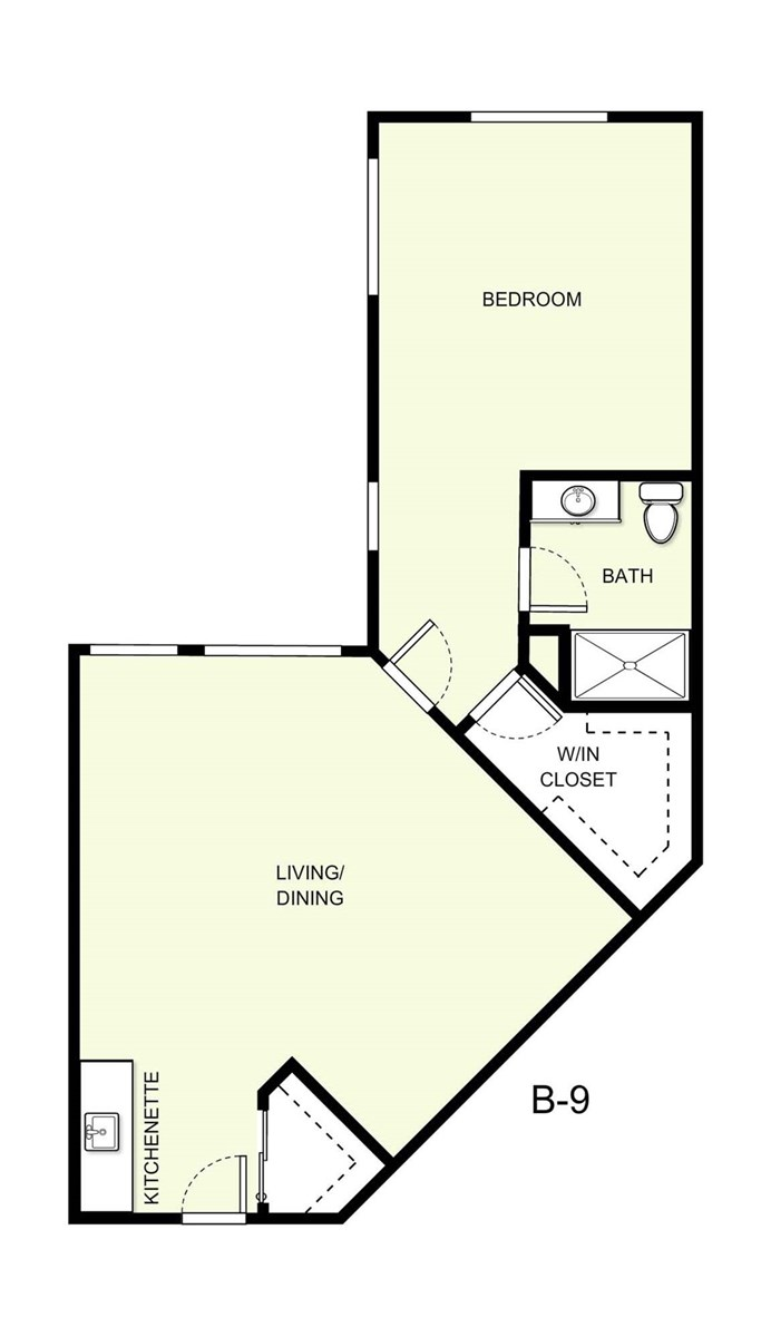 894 sq. ft. B9 floor plan