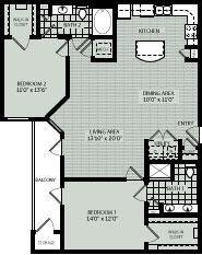 1,224 sq. ft. C2 floor plan