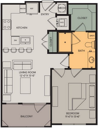 671 sq. ft. Horizon I floor plan