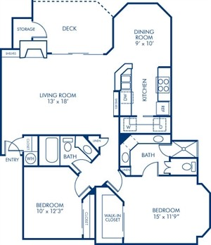 1,177 sq. ft. 2B3 floor plan